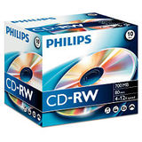 Philips CD-RW 700MB-80min Jewelcase, 4-10x, PHILIPS