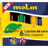 Molin Creioane colorate cerate, 6 culori/set, Molin Color Plus