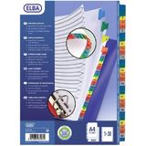 Index carton alb Mylar numeric 1-31, margine PP color, A4 XL, 170g/mp, Elba