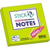 Hopax Notes autoadeziv 76 x 76 mm, 100 file, Stick'n - verde neon