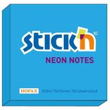 Hopax Notes autoadeziv 76 x 76 mm, 100 file, Stick'n - albastru neon