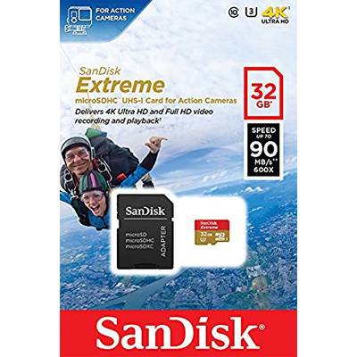 Card de Memorie SanDisk Micro SDHC Extreme Action Cameras 32GB UHS-I U3 Class 10 90 MB/s + Adaptor SD