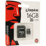 Card de Memorie Kingston Micro SDHC 16GB Clasa 4 + Adaptor SD