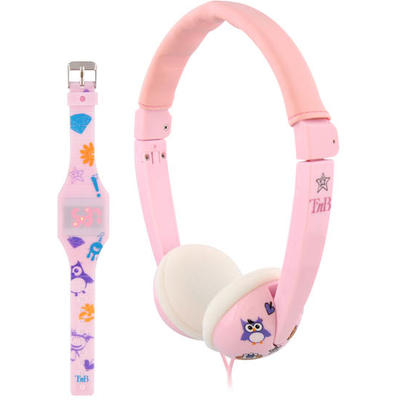 Casti TNB  Bundle kids headphones + led watch pink
