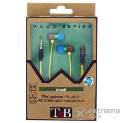 Casti TNB BRAZIL WOODEN EARPHONES + MIC HANDS FREE KIT