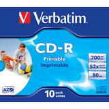 Verbatim  CD-R 52X 700MB FAST DRY PRINTABLE JC