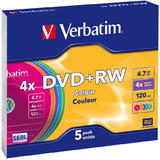 Verbatim  DVD+RW 4X COLOR SLIM CASE 5PK