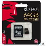 Card de Memorie Kingston Micro SDXC, 64GB, Clasa 10, UHS-I U3 + Adaptor