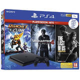 PlayStation 4 Slim 1TB Black + Uncharted 4 + Ratchet & Clank + The Last Of Us